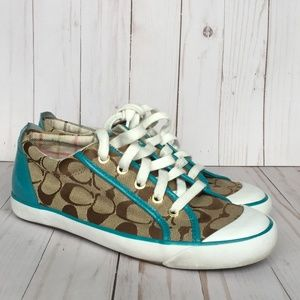 Coach Barrett Turquoise & Brown Sneakers